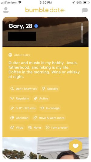 bumble profile example